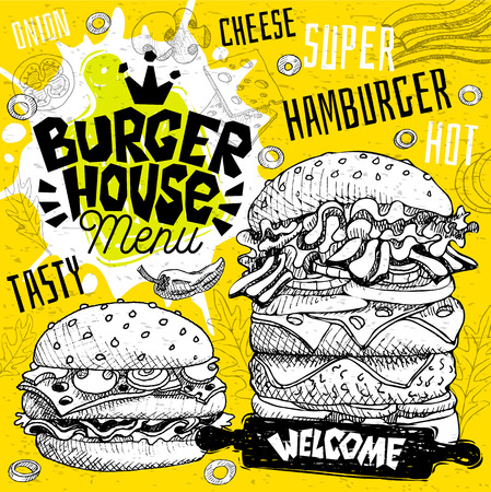 Burger house cafe restaurant menu. Vector sub sandwiches fast food flyer cards for bar cafe. Design template, logo, emblem, sign, crown, welcome vintage hand drawn vector illustrations.