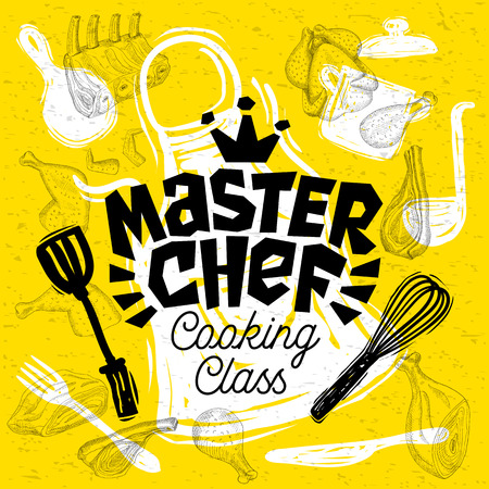Sketch style master chef cooking class lettering. sign, logo, emblem. Pan, pot, knife, fork apron chicken meat ribs, steaks, wings. Hand drawn vector illustration Illustration