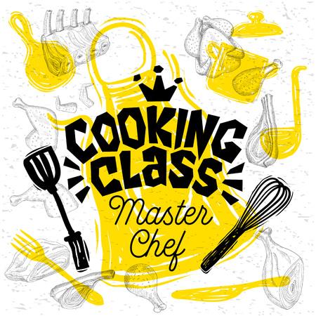 Schets stijl chef-kok kookles belettering. Teken, logo, embleem. Pan, pot, mes, vork, schort, kippenvlees ribben steaks vleugels. Hand getekende vector illustratie