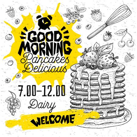 Goedemorgen Pannenkoeken Heerlijk pannenkoekenrestaurantmenu. Vector pannenkoek voedsel flyer kaarten voor bar café. Ontwerpsjabloon, logo, embleem, teken, klok, welkom vintage hand getrokken vectorillustraties. Logo