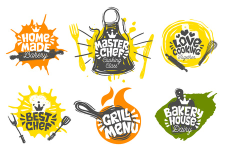 Sketch style cooking lettering icons set. For badges, labels, logo, bakery, street festival, farmers market, country fair, shop, kitchen classes cafe food studio. Hand drawn vector illustration. Illustration