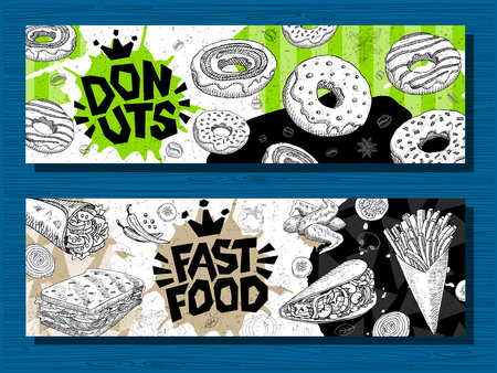 Fast food colorful modern banners set labels. Fast food. French fries. donuts. Hot dog, hamburger, coffee, wings, nuggets, tacos. Bright cool food sketches composition. Hand drawn vector illustration. Vector Illustration