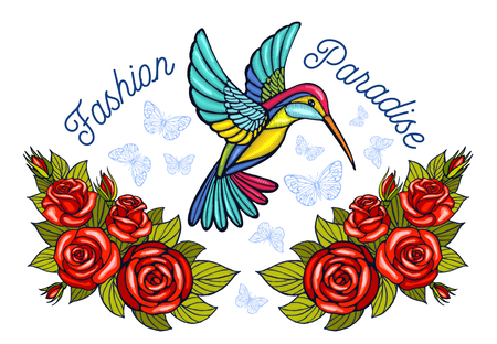 Hummingbirds butterflies crown roses embroidery patch fashion paradise. Humming Bird floral leaf wings Insect embroidery. Hand drawn vector illustration