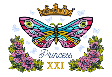 Golden crown, butterflies colorful embroidery, vintage style flowers, flight insect butterflies, wings textured, stripe. Princess lettering, fashion floral elements. Hand drawn vector illustration.