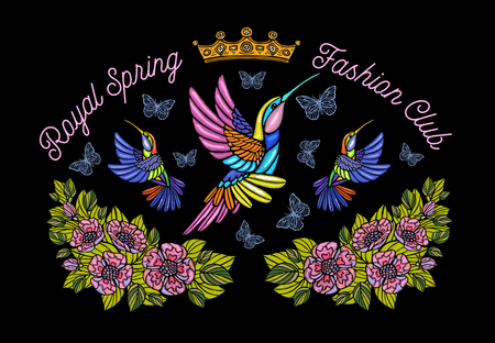 Hummingbirds butterflies crown flowers embroidery patch royal spring fashion club. Humming Bird floral leaf wings Insect embroidery. Hand drawn vector illustration