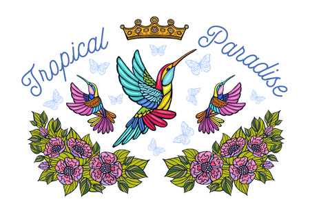Hummingbirds butterflies crown roses embroidery patch fashion tropical paradise. Humming Bird floral leaf wings Insect embroidery. Hand drawn vector illustration Illustration