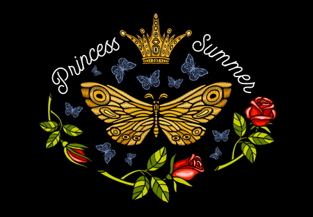 Golden crown, butterflies golden embroidery, vintage style roses, flight insect butterflies, wings textured, stripe. Princess Summer lettering, fashion design. Hand drawn vector illustration.