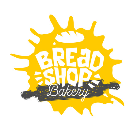 Bread shop, bakery, bakehouse home baking lettering logo label emblem design. The best recipe, chef hat, crown, whisk. Hand drawn vector illustration. Illustration