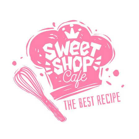 Słodki sklep cafe logo etykieta godło projekt. Najlepszy przepis, kapelusz kucharza, różowy, korona. Ręcznie rysowane ilustracji wektorowych.