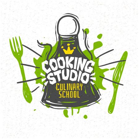 Studio di cucina, scuola di cucina corsi di cucina logo utensili grembiule, forchetta, coltello, maestro chef. Lettering, logo di calligrafia, stile di schizzo, benvenuto. Illustrazione vettoriale disegnato a mano.