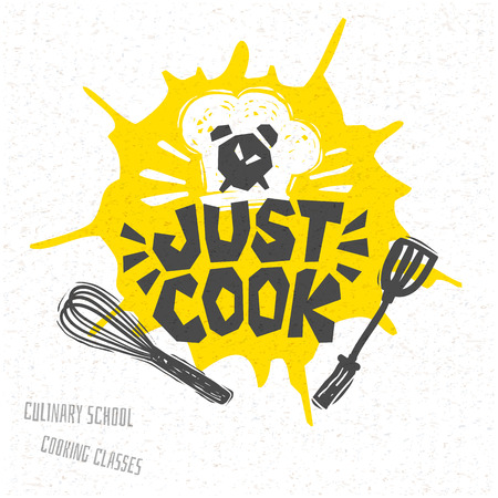 Cooking school culinary classes logo utensils apron, fork, knife, master chef. Lettering, calligraphy logo, sketch style, welcome. Hand drawn vector illustration.
