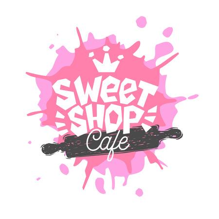 Sweet Shop Cafe Logo Label Emblem Design. Das beste Rezept, Kochmütze, Pink, Krone. Hand gezeichnete Vektorillustration.