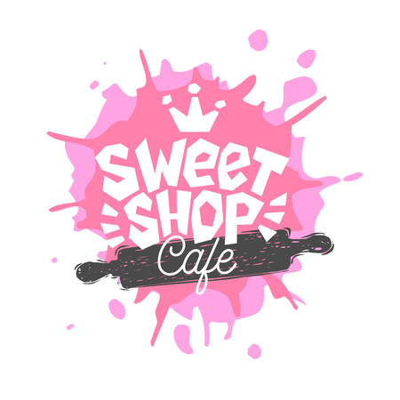 Sweet shop cafe logo label emblem design. The best recipe, chef hat, pink, crown. Hand drawn vector illustration.
