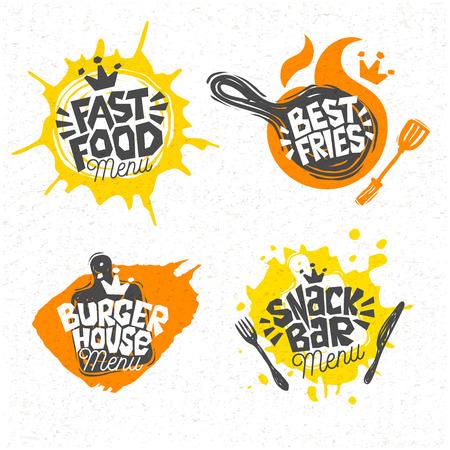 Fast food, burger house best pizza fries logo signs symbols emblems, labels, lettering. Menu restaurant, cafe, bistro, snack bar, eatery. Hand drawn vector Illustration. Stock Illustratie