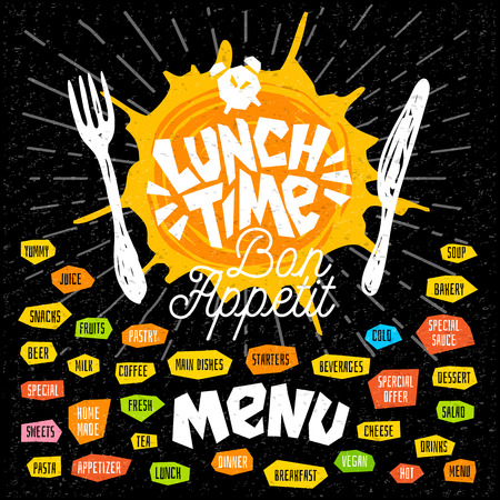 Lunch time fork knife menu. Lettering calligraphy logo sketch style light rays craft pasta, vegan, tea, coffee, desserts, yummy, milk, food, salad. Hand drawn vector illustration. Stock Illustratie