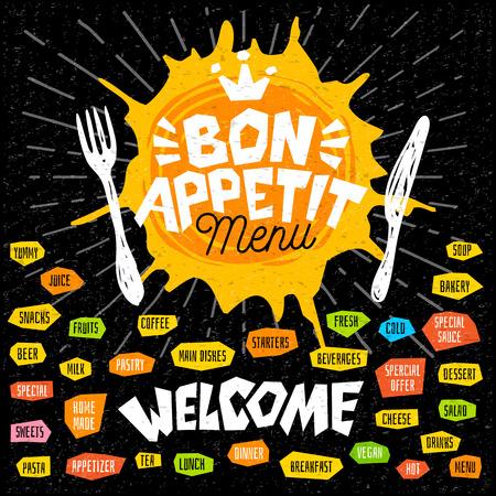 Bon appetit menu welcome fork knife, menu. Lettering, labels, logo sketch style, craft, pasta vegan tea, coffee desserts, yummy soup, combo salad, pastry. Hand drawn vector illustration Stock Illustratie
