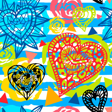 Ethnic exotic batik tropical seamless pattern. Abstract coroful summer time decoration, collage tropical hearts roses flowers brush stroke ornament. Hand drawn vector illustrations.