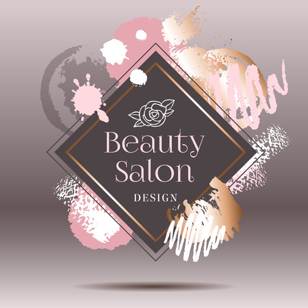 Golden pink art frames. Modern card design, brush stroke, gold, premium brochure, flyer, invitation template. Pastel rose colors brush strokes, pink gold contour square frame. Abstract background.