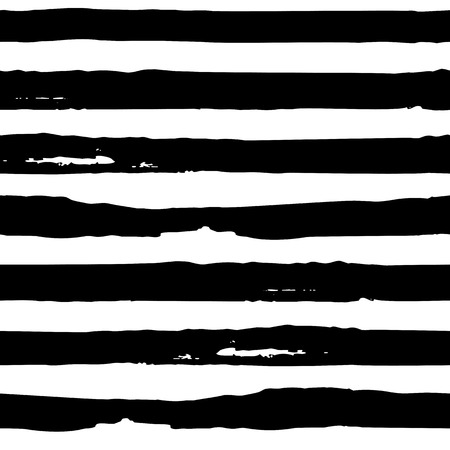 Nahtloser Vektor Pinselstrichmuster. Schwarze und weiße einfache geometrische Wellenlinien abstraktes Hintergrunddesign. Handgezeichnete Vektorillustration