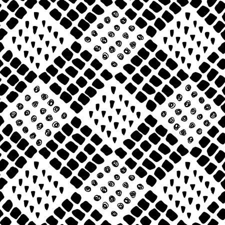 Seamless vector brush stroke pattern. Black and white simple geometric wavy lines abstract background design. Hand drawn vector illustration Illustration
