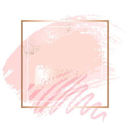 Marcos de arte rosa dorado. Ilustración de vector