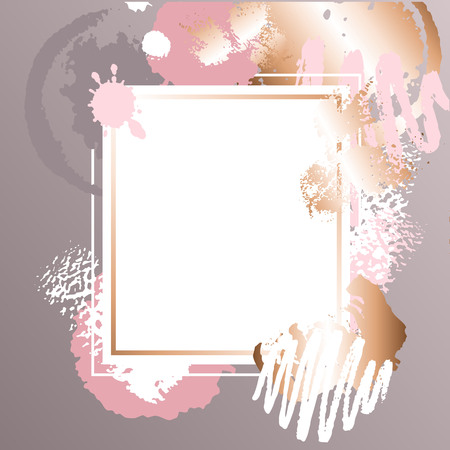 Golden pink art frames. Vectores
