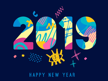 2019 Happy New Year greeting card with abstract elements on blue background. Hand drawn vector illustration. Colorful brightly style. Illustration