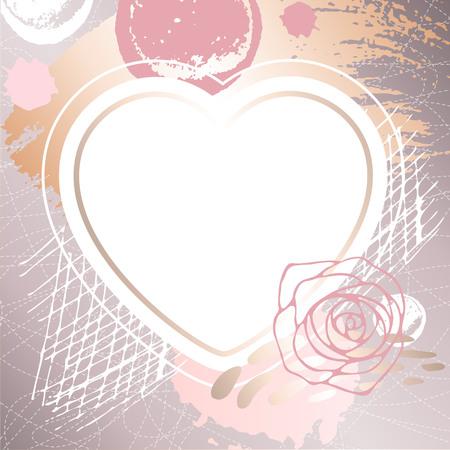 Golden pink art heart frames.
