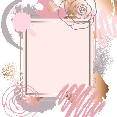 Golden pink art frames. Ilustração