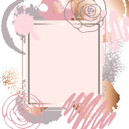 Golden pink art frames. Illustration