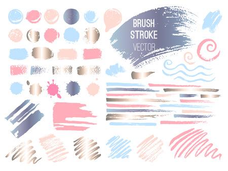 Set stroke spot golden pink blog. Brush, pen, marker, chalk, brush stroke, lines, points, gold. Vector distressed grunge modern textured brush stroke. Dry brush. Beauty identity elegant style.