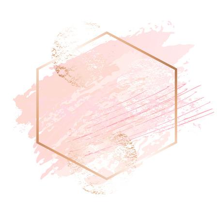 Marcos de arte rosa dorado.