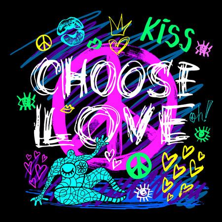 Choisissez les couleurs néon à la mode des filles de signe de paix d'amour, baiser, coeurs, lèvres, lettrage de slogan. Crayon de couleur, marqueur, encre, style de croquis de griffonnages de stylo. Vecteur d'illustration dessiné à la main.