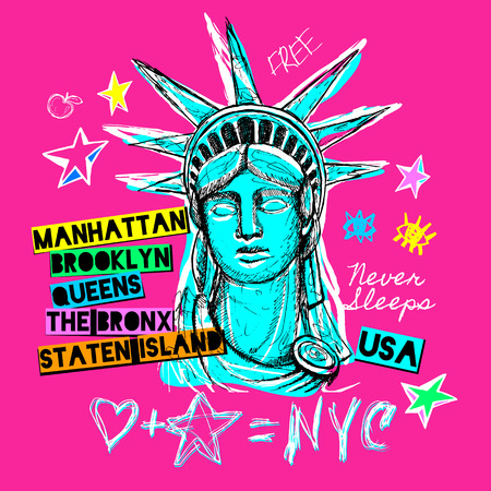 New York, t shirt design, poster, print, statue of liberty lettering, map, tee shirt graphics, trendy, dry brush stroke, marker, color pen, ink, watercolor. Hand drawn vector illustration. Ilustração