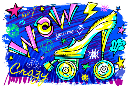 Wow rollers skates girls trendy shoes, high heel, sport slogan lettering. Color pencil, marker, ink, pen doodles sketch style. Hand drawn illustration vector.