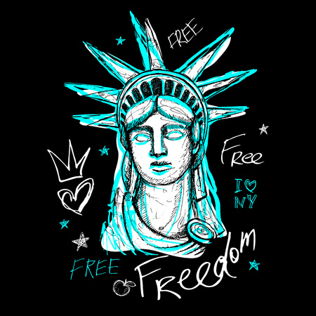 New York, t shirt design, poster, print, statue of liberty lettering, map, tee shirt graphics, trendy, dry brush stroke, marker, color pen, ink, watercolor. Hand drawn vector illustration. Illustration