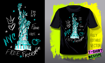 New York, city, american liberty, freedom, monument. Trendy t-shirt template, fashion t shirt design, bright, summer, cool slogan lettering. Color pencil, marker, ink, pen doodles sketch style. Hand d  イラスト・ベクター素材