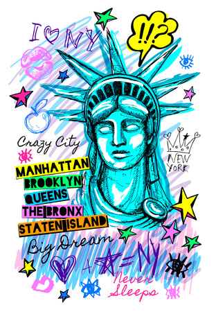 New York city statue of liberty, freedom, poster, t shirt, sketch style lettering, trendy graphic dry brush stroke, marker, color pen, ink America usa, NYC, NY. Doodle hand drawn vector illustration. 矢量图像