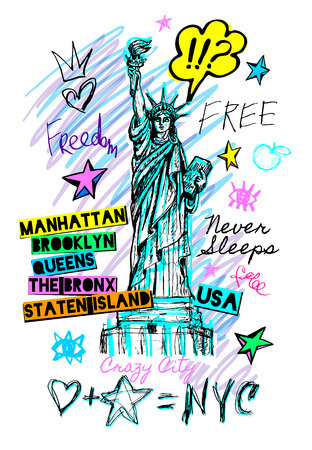 New York city statue of liberty, freedom, poster, t shirt, sketch style lettering, trendy graphic dry brush stroke, marker, color pen, ink America usa, NYC, NY. Doodle hand drawn vector illustration. Ilustração