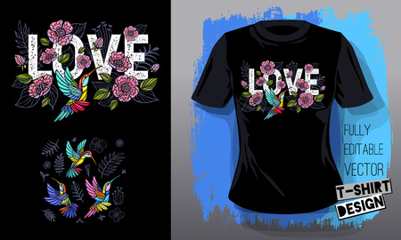 Hummingbirds cool flowers, leaves, birds, floral love embroidery textile fabrics t shirt