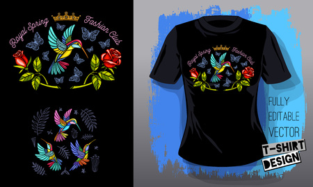 Hummingbirds flowers, leaves, birds, golden embroidery queen crown textile fabrics t shirt