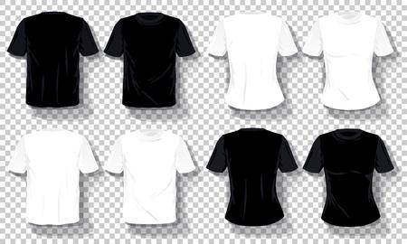 Black white T-shirts template Set isolated, hand drawn tee shirts transparent 免版税图像