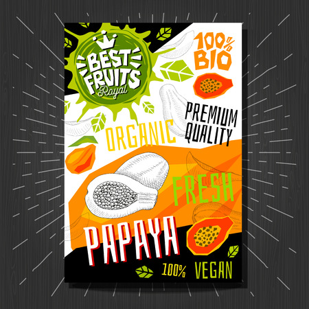 Food labels stickers set colorful sketch style fruits, spices vegetables package design