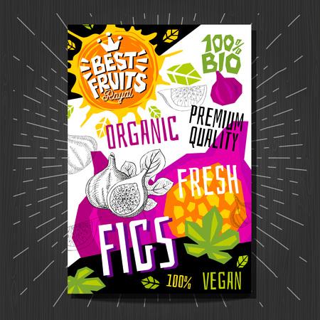 Les autocollants d'étiquettes alimentaires définissent des fruits de style croquis colorés, la conception de paquets de légumes d'épices.
