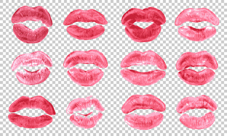 Lipstick kiss print isolated  set pink red coral lips set different shapes female sexy lips 写真素材