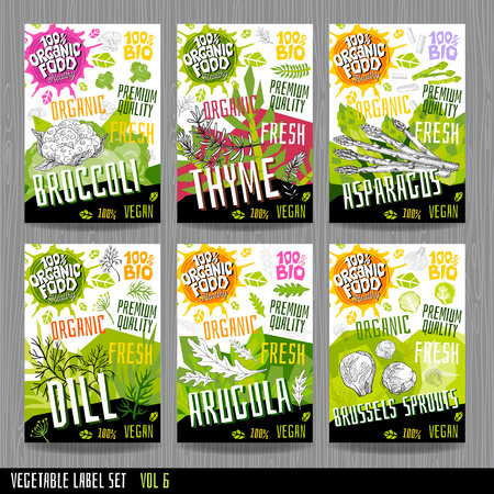 Food label set stickers collection vegetable labels spices package design.