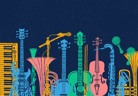 Musical instruments, guitar, fiddle, violin, clarinet, banjo, trombone, trumpet, saxophone, sax music lover slogan graphic for t shirt design posters prints