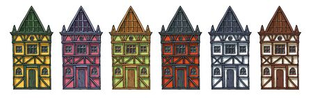 Colorful german houses cartoon collection urban landscape front view of European city street building facades. Hand drawn vector illustration sketch style. Çizim