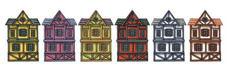 Colorful German houses cartoon collection urban landscape front view of European city street building facades.