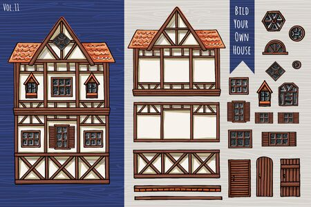 German houses, collection of elements, itemset, roof, windows, doors. Fahverk architecture cute style for postcard design posters background game children books. Hand drawn vector illustration.